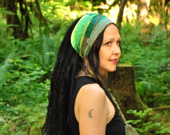 Interstellar Weave Headband, Dread wrap, Green Hippie Headband, Hair Wrap, Dreadlock wrap