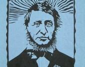 Blue Thoreau T-shirt Silkscreened Linocut  - Simplify in 100% Cotton Small, Medium, X-Large and XXLarge