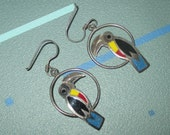 Vintage FAB Colorful Enamel and Sterling Siver Toucan Bird Earrings Signed Mexico 925