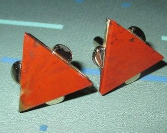 Vintage MOD Mid Century Orange Stone Geometric Triangle Cuff Links