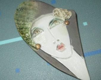 Vintage MOD 80s Ceramic Flapper Lady Pin