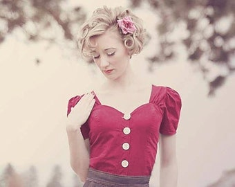 Linda Pinup Girl Blouse in Cranberry Red