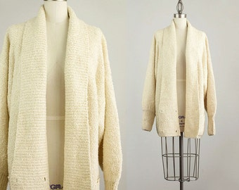 90s Vintage Ecru Beige Slouchy Shawl Collar Sweater Coat / Size Large
