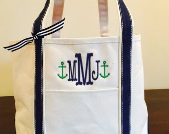 Canvas Nautical Monogrammed Beach Bag Pool Tote Bag Personalized Custom Embroidery Anchors