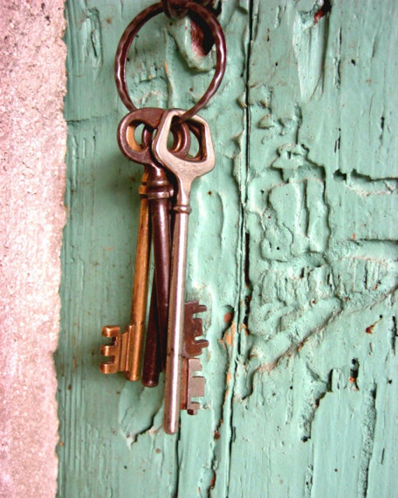 "Vintage Skeleton Keys - Cottage Chic Photograph - Mint Pink Wall Art - Old Wooden Door - Key Print - French Country   ""Keys to the Winery"""
