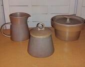 1960s Bennington Art Pottery creamer pitcher, sugar bowl, condiment pot  / Gil, Aida