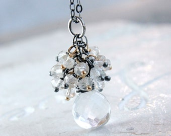 Gemstone Cluster Necklace Clear Quartz Topaz  Mixed Metal Jewelry Rock Crystal  Cascade  Pendant   Made For Her Healing Crystals