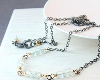 Aquamarine Necklace Mixed Metal Necklace  March Birthstone Pastel Blue Gemstone Jewelry Light Blue Aquamarine Jewelry Gold Silver