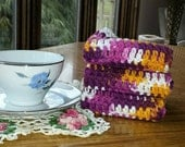 Crochet Cotton Washcloths Dishcloths Handmade, Multicolored Crochet Cotton Wash Cloths, Dish Cloths, Dish Rag Set of 3