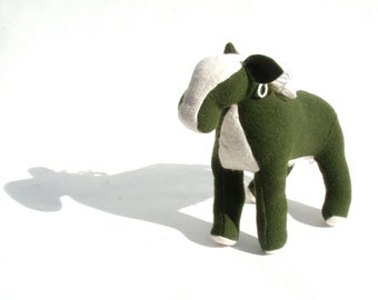 Loden Green and White Wool Angora Horse