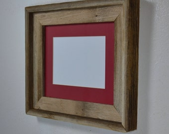 8x10 reclaimed wood picture frame with 5x7 or 8x6 mat