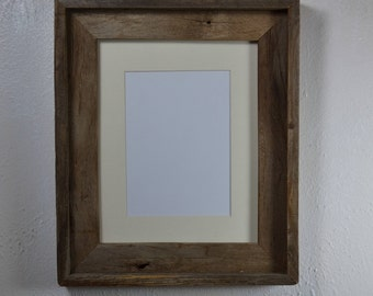 8x10 weathered wood picture frame with off white 5x7 mat
