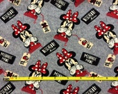 "NEW Minnie Mouse ""design by"" cotton lycra knit fabric 96/4 58"" wide."