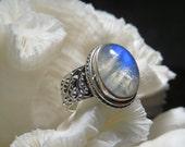 Beautiful Iridescent Moonstone  Ring Size 7.75
