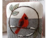 Needle Felted Red Cardinal Pillow made from Recycled Sweater Fabric by Val's Art Studio