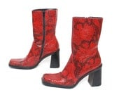 size 7 SNAKESKIN red vegan 80s 90s CHUNKY zip up boots made in BRAZIL