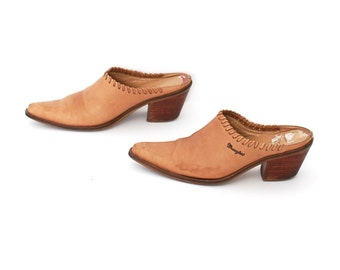 size 7 CLOGS tan leather 80s 90s BOHEMIAN slip on high heel mules