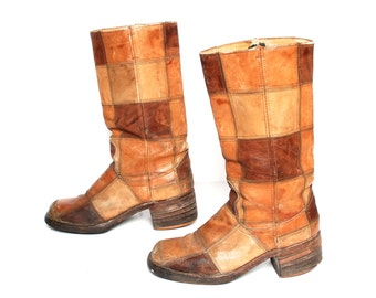 size 10.5 PLATFORM brown leather 60s 70s CAMPUS PATCHWORK mid calf brown boots