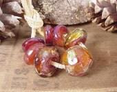 Handmade lampwork glass beads, Artisan glass beads, gold beads, amber beads, purple beads, ruby beads, silver beads, round beads, SRA