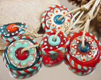 Handmade lampwork glass bead set, Artisan glass beads, blue beads, red beads, aqua beads, ivory beads, mandala disc beads, SRA lampwork