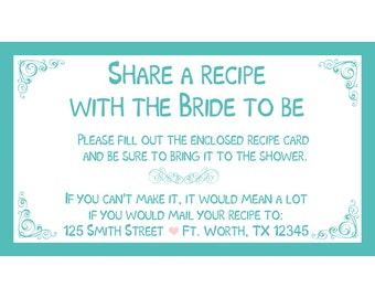 50 Personalized Insert Card  -  CUSTOM Colors  -  Available in all colors to match Recipe cards
