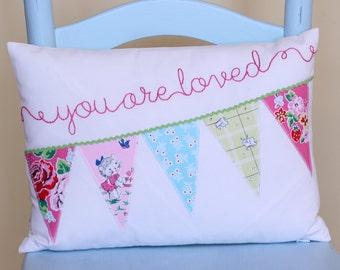 Baby Girl Nursery Pillow Cover, Toddler Pillow Cover, Crib Bedding Pillow, Bunting Pillow Cover, Personalized Name