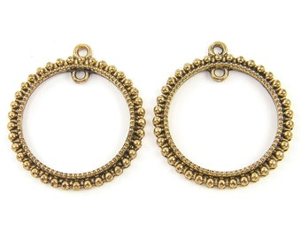 Antique Gold Hoop Earring Findings Granulated Round Pendant Component Jewelry Supply |AN2-9|2