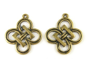 Knot Earring Findings Antique Brass Dangle Pendant Necklace Charm  AN3-7 2