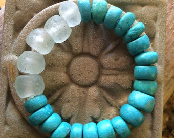 Moroccan Clay Pottery Beads, African Berber Beads and Recycled Aqua Glass Stretch Bracelet