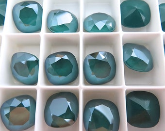 1 Royal Green Swarovski Crystal Square Cushion Cut Stone 4470 12mm