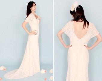 MAY / Sale boho lace kimono sleeve wedding dress beach destination stretch sheath fit flare