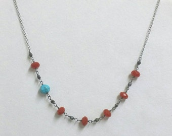Carnelian Turquoise Necklace, Asymmetrical Necklace, Turquoise Necklace, Wire Wrapped Necklace, Oxidized Sterling Silver Chain Maggie McMane