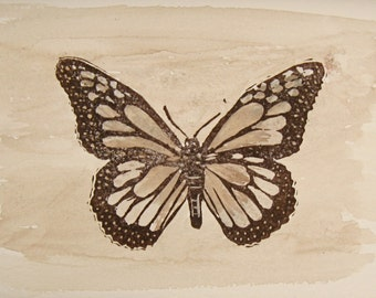 Sepia Print Monarch Butterfly Art Print Linocut with Watercolor Nature Print Butterfly Block Print Vintage Style Art Texas Artist Print