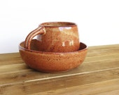 Ceramic Pottery Breakfast Set - One Cup and One Bowl in Shino Glaze, Rustic Stoneware