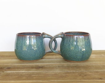 Stoneware Ceramic Pottery Mugs - Sea Mist - Set of 2