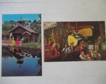 Vintage 1960s Knotts Berry Farm Post Card, Ghost Town Calico Saloon, Little Chapel by the Lake