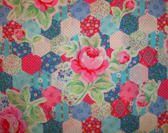 SALE Blue Aqua Pink Rose Patchwork Hexagon 31128 by Lecien Fabrics Flower Sugar Clearance