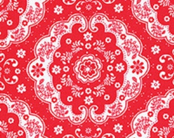 Red and White Floral Lace Medallion 31272 30 Fabric by Lecien Flower Sugar