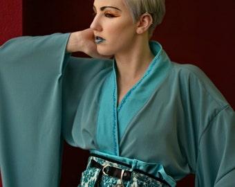 "N.H.I. designer dress ""nod to asia"" 2015 collection INDIGO CHILDREN kimono obi haute couture avant garde"