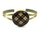 Fashion Tartan Jewelry - Ancient Romance Series - Camel Plaid Tartan Split Cuff Bracelet