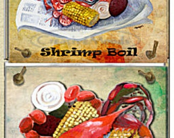 Louisiana Cajun Seafood Original Art 4 Tile Wall Decor