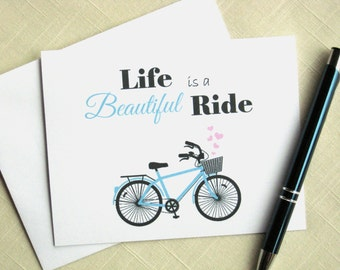 Bicycle Stationery - Life Is A Beautiful Ride - Bicycle Note Cards - Set of 8