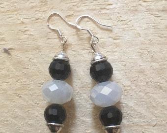 Black and white shiny bead earrings