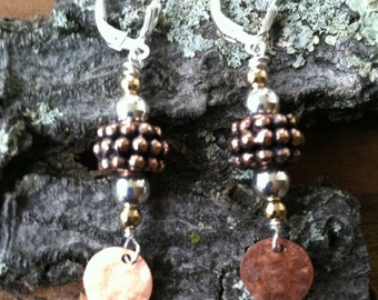 Copper & Sterling Two Tone Earrings