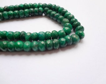 3.5mm Natural Green Sapphire Corundum Faceted Rondelle Precious Gemstones - 25pc