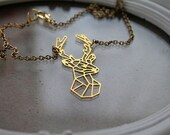 Golden stag  necklace fantasy filigree geometric hart deer forest woodland