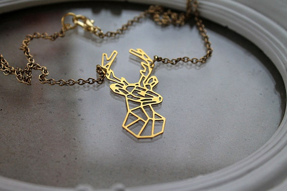 Golden stag  necklace fantasy filigree geometric hart deer forest woodland