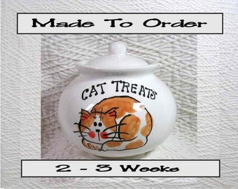 Cat Treat Jar Ginger & White Cat Ceramic Holder With Lid Handmade by GMS