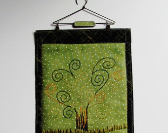 abstract tree wall hanging, fabric art embroidered tree, hand embroidered tree decor