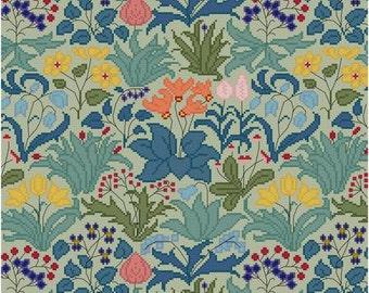 Lush Garden Cross stitch pattern PDF CFA Voysey Flower Garden Design